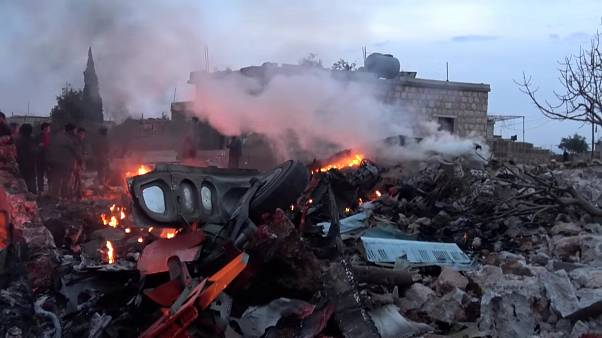 A Russian military plane shot down by Syrian rebel forces near Idlib