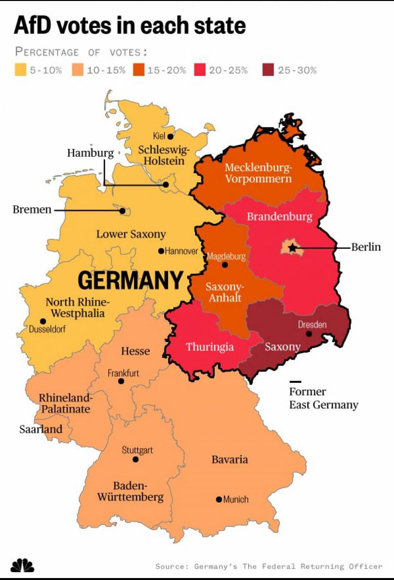 the afd won strong support from voters living in states that were once part of east germany paul cheung nbc news