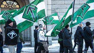 یکی از راهپیمایی های گروه نئونازی «جنبش مقاومت شمال»