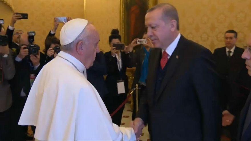 Histórico encuentro de Recep Tayyip Erdogan y el papa Francisco