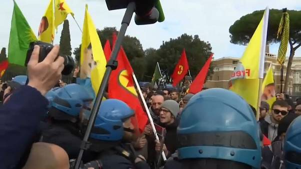 Violence breaks out as Erdogan meets Pope Francis in Rome