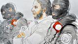 Desenho de Salah Abdeslam no tribunal em Bruxelas