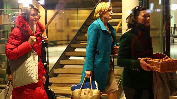 CDU's Julia Kloeckner leaves coalition talks at SPD HQ in Berlin