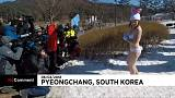 Bikini clad animal rights activist brave the cold in Pyeongchang
