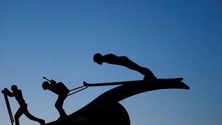 A sculpture featuring nordic sports in Pyeongchang, South Korea