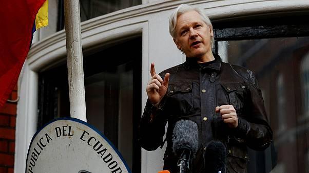 FILE PHOTO: WikiLeaks founder Julian Assange is seen on the balcony of the