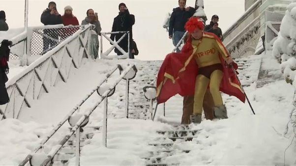 Esquiadores en Montmartre