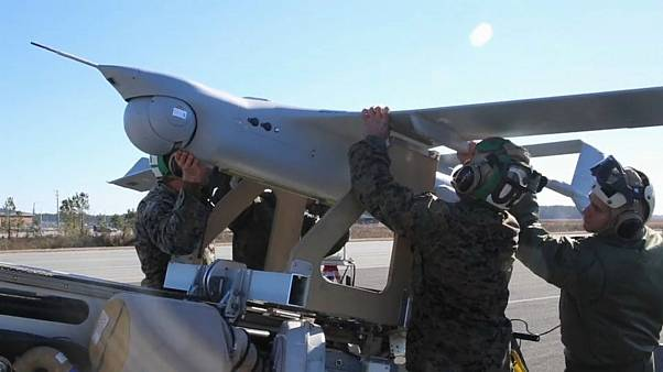U.S Soldiers mount a drone