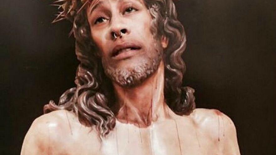 Fotomontaje del Cristo de la Amargura con la cara del condenado.