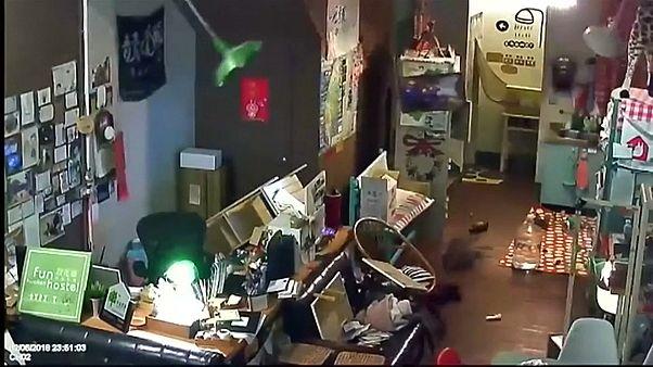 Tayvan'da deprem anı