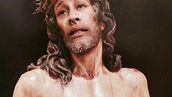 Fotomontaggio del Cristo de la Amargura con la faccia del condannato