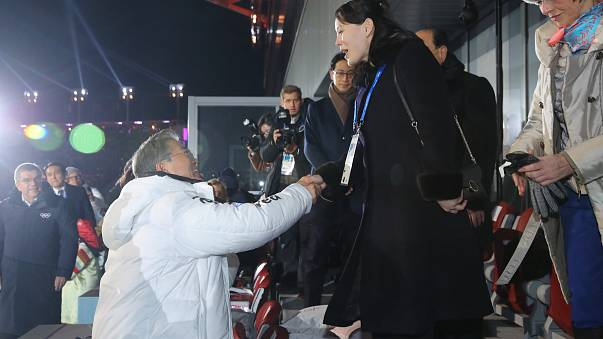 Winter Olympics kicks off with historic handshake