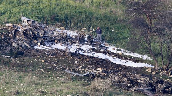 لاشه جنگنده ساقط شده اسرائیل