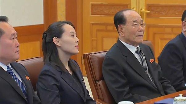 Kim Yo Jong with Kim Yong Nam, North Korea's nominal head of state
