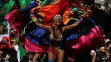 A reveller during Carnival festivities in Rio de Janeiro, Brazil, Feb. 9