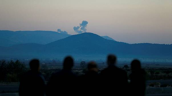 Smoke rises from Syria's Afrin region, as seen from the Turkish border