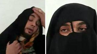 شاهد: القبض على إرهابي ليبي حاول الهروب متنكراً في زي سيدة منقبة