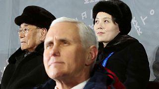 حاشیههای المپیک زمستانی؛ مایک پنس هنگام پخش سرود دو کره نایستاد