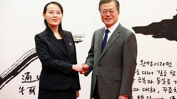 La sorella di Kim Jong e il presidente sudcoreano Moon Jae-in