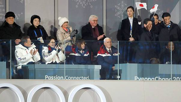 KimYoJong a escassos metros de Mike Pense e de Shinzo Abe