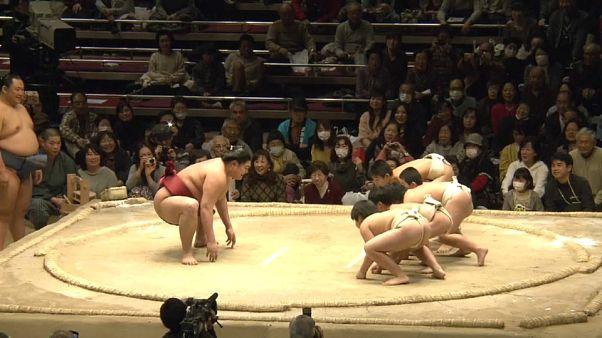 Minik öğrenciler dev sumo güreşçisine karşı