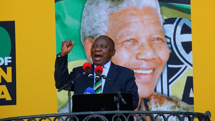 South African Deputy President Cyril Ramaphosa addresses rally in Cape Town