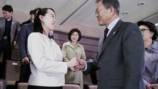 El presidente surcoreano habla con Kim Yo Jong, hermana de Kim Jong-un