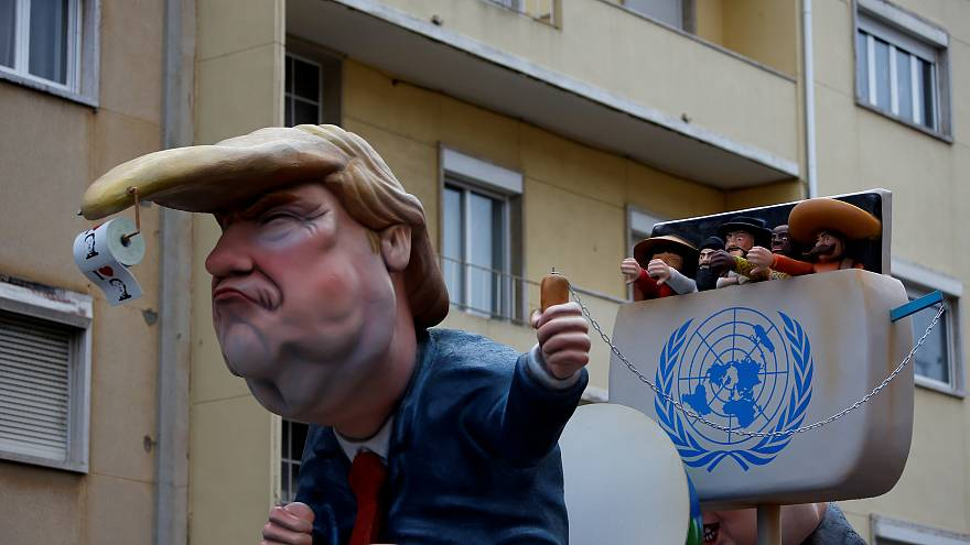 A carnival chariot is seen with a figure of U.S. President Donald Trump
