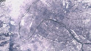 Paris snow seen from outer space
