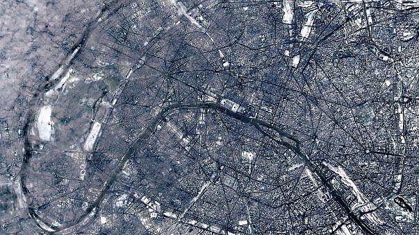 La nieve en París vista desde la estratosfera