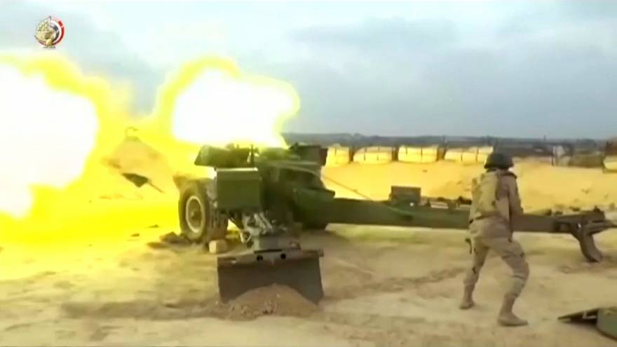 Egyptian armed forces firing on suspected Islamic State militant positions
