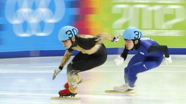 Kei Saito speed skating at the Youth Olympics in Innsbruck, Vienna in 2012.