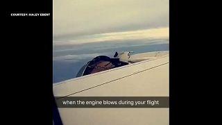 شاهد.. ركاب يشهدون لحظات مرعبة بسبب تفكك محرك طائرتهم في الجو فوق المحيط الهادئ