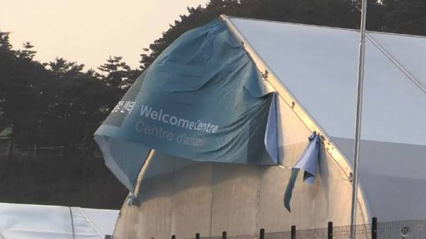 Tent flaps in high winds at Winter Olympics in South Korea