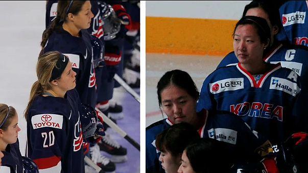 Сёстры-олимпийки под флагами двух стран