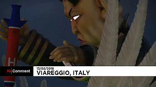 Kim Jong-un, Putin, Berlusconi... en el Carnaval de Viareggio