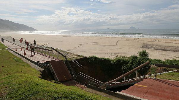 Tempestade provoca inclusive colpaso da ciclovia de São Conrado