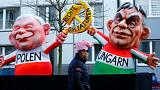 Law and Justice (PiS) in Poland Jaroslaw Kaczynski and Hungarian Prime Mini