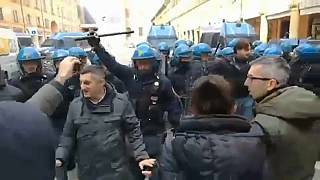 Anti-fascist demonstrators clash with Italian police in Bologna