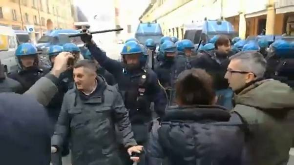 Anti-fascist demonstrators clash with Italian police in Bologna