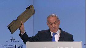 نتانیاهو قطعهای از «پهپاد سرنگون شده ایران» را در مونیخ نمایش داد