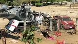 Aftermath military helicopter crash in Mexico's Oaxaca state