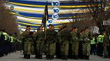 Kosovo security forces parade in the capital Pristina, February 18, 2018.