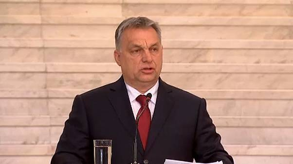 Orban speaking in Bulgaria