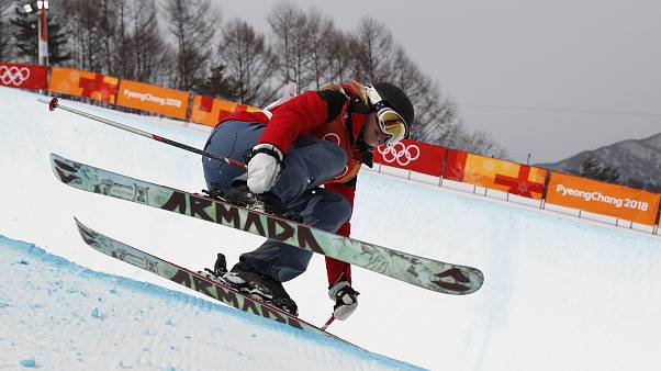 Elizabeth Swaney competes in the women's ski halfpipe qualifications