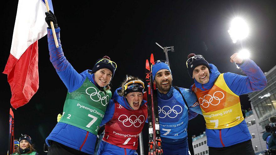 JO Pyeongchang : Martin Fourcade remporte le relais mixte biathlon.