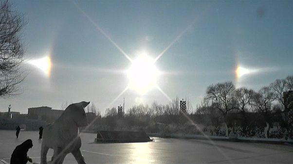 Vídeo: el fenómeno de los tres soles aparece al norte de China