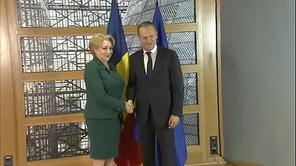 La Primera Ministra de Rumanía, con el presidente del Consejo Europeo