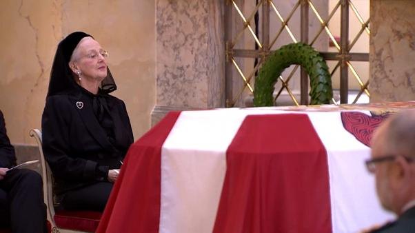 Danish Queen Magrethe next to husband Prince Henrik's coffin