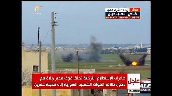 شاهد لحظة قصف قوات موالية للحكومة السورية أثناء دخولها عفرين